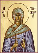 Byzantine Painting Posters - St Paraskevi Poster by Julia Bridget Hayes
