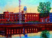 Buildings At Sunset Prints - St Patrick Street Pointe St Charles City Scene Vanishing Montreal Print by Carole Spandau