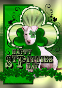 Dogs Digital Art - St Patricks - Happy St Pitties Day by Renae Frankz