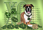 Lucky Dogs Posters - St Patricks Day - My Boxer is Me Lucky Charm Poster by Renae Frankz