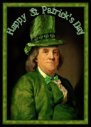 Franklin Mixed Media Metal Prints - St Patricks Day Ben Franklin Metal Print by Gravityx Designs