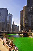 Water St Chicago Photos - St Patricks Day Chicago by Dejan Jovanovic