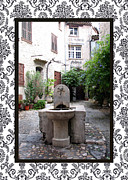 Provence Village Posters - St. Paul de Vence Fountain with border Poster by Carla Parris