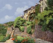 Romantic Art Painting Framed Prints - St Paul de Vence Framed Print by Guido Borelli