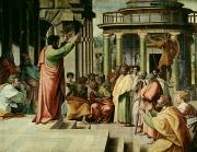 Pre-restoration Painting Framed Prints - St. Paul Preaching at Athens  Framed Print by Raphael