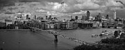 Financial Prints - St Pauls and the City panorama BW Print by Gary Eason