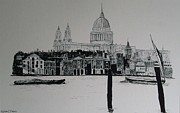 Barges Drawings Posters - St Pauls Poster by Andy Davis