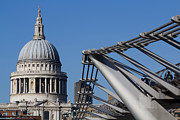 Water Flowing Prints - St Pauls Cathedral and the Millenium Bridge  Print by David Pyatt