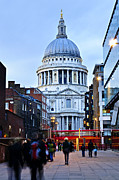 Pedestrian Prints - St. Pauls Cathedral at dusk Print by Elena Elisseeva