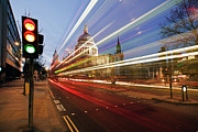 Road Signal Prints - St Pauls Cathedral At Night Print by Ray Wise