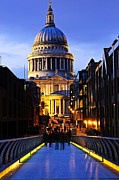 Nighttime Posters - St. Pauls Cathedral from Millennium Bridge Poster by Elena Elisseeva