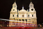 Clock Tower Photos - St. Pauls Cathedral in London at night by Elena Elisseeva