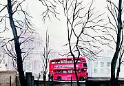 Mist Painting Posters - St Pauls Cathedral In The Mist  Poster by Morgan Fitzsimons