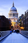 Pedestrian Prints - St. Pauls Cathedral London at dusk Print by Elena Elisseeva