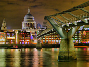 St Pauls Catherderal And Millennium Footbridge - Night - Hdr Print by Colin J Williams Photography