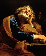 Beard Paintings - St Peter by Pompeo Girolamo Batoni