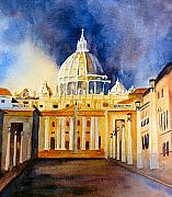Vatican Paintings - St. Peters Basilica by Karen Stark