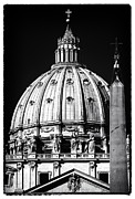Crucifix Art Photo Posters - St. Peters Cupola Poster by John Rizzuto
