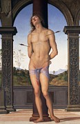 Martyr Paintings - St Sebastian by Pietro Perugino