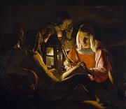 Oil Lamp Paintings - St. Sebastian Tended by Irene by Georges de la Tour