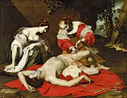 Injured Prints - St Sebastian Tended by the Holy Irene Print by Nicholas Renieri