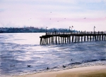 Water Paintings - St. Simons Island Fishing Pier by Sam Sidders