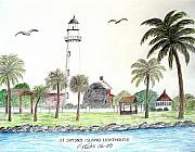 Seacoast  Drawings Metal Prints - St Simons Island Lighthouse  Metal Print by Frederic Kohli
