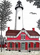 Historic Buildings Images Drawings Framed Prints - St Simons Lighthouse - Museum Framed Print by Frederic Kohli