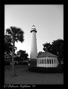 Base Ball Posters - St. Simons Lighthouse Noir Poster by Rebecca  Stephens