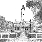 Lighthouse Drawings - St. Simons Lighthouse by Tim Murray