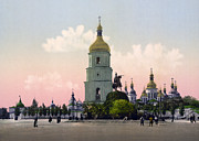 Kiev Framed Prints - St Sophia Cathedral in Kiev - Ukraine - ca 1900 Framed Print by International  Images