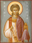 Byzantine Icon Prints - St Stephen II Print by Julia Bridget Hayes