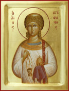 Icon Byzantine Painting Framed Prints - St Stephen the First Martyr and Deacon Framed Print by Julia Bridget Hayes