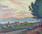 Pointillist Framed Prints - St Tropez Pinewood Framed Print by Paul Signac
