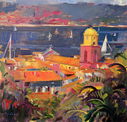 Skylines Painting Posters - St Tropez Sailing Poster by Peter Graham