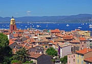 Saint-tropez Framed Prints - St-Tropez Skyline Framed Print by Corinne Rhode