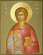 Egg Tempera Prints - St Tryphon Print by Julia Bridget Hayes