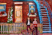 Montreal Cityscapes Paintings - St. Urbain Street Boys by Carole Spandau