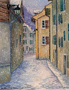 Switzerland Painting Originals - St Ursanne in Snow by Scott Nelson