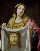 Female Christ Framed Prints - St. Veronica Holding the Holy Shroud Framed Print by Simon Vouet
