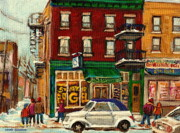 Montreal Citystreet Scenes Paintings - St Viateur Bagel And Mehadrins Deli by Carole Spandau
