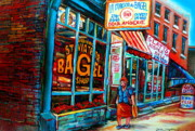 St.viateur Bagel Paintings - St. Viateur Bagel Bakery by Carole Spandau