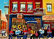 Hockey In Montreal Paintings - St. Viateur Bagel Hockey Practice by Carole Spandau