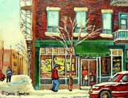 Crowds Paintings - St Viateur Bagel Shop Montreal by Carole Spandau