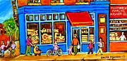 Montreal Neighborhoods Paintings - St. Viateur Bagel Summer In Montreal Near Park Avenue Montreal City Scene by Carole Spandau