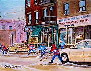 Snowfalling Posters - St. Viateur Bagel with boys playing hockey Poster by Carole Spandau