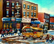 Kids Playing Hockey Paintings - St. Viateur Bagel With Hockey Bus  by Carole Spandau