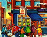 Montreal Winter Scenes Posters - St. Viateur Bagel With Hockey Poster by Carole Spandau