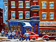 Urban Winter Scenes Prints - St Viateur Bagel With Hockey Montreal Winter Street Scene Print by Carole Spandau