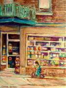 Montreal Memories. Paintings - St Viateur Street Montreal  by Carole Spandau